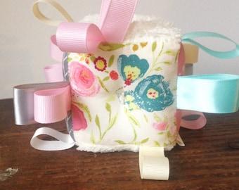 Pastel Girly Block, Fabric Baby Block, Cream Pastels Pink Aqua Grey, Ribbon Rattle Baby Toyf Gift, Personalize Initials, Sweet Baby Girl