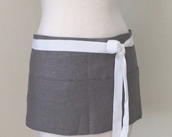 Half Apron Woman Short Gray Grey Linen Work Utility Caterer Restaurant Made and Ready to Ship