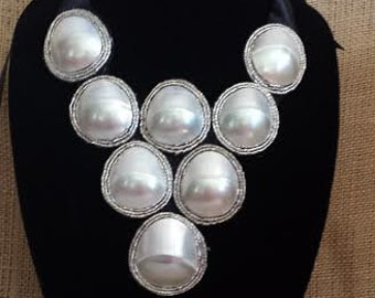Statement Bib / Dress Elegant Necklace with Mother of Pearl OOAK