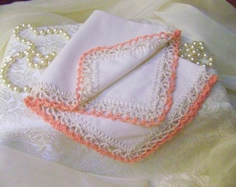 Peach Handkerchief, Peach Hanky, Lacy, Hand Crochet, Lace, Ladies, Custom Embroidered, Personalized, Monogrammed, Bridal Party Gift,