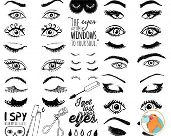 Eye ClipArt Images, Eyelashes Graphic Design, Trendy Woman Beauty Graphics, Makeup Clip Art,  Girl Power Digital Images, Instant Download