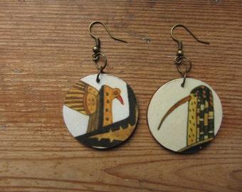 Recycled Paper Earrings, Wooden Earrings, Bird Earrings, Paper Jewelry, Boho Earrings, Wood Earrings, Bird Jewelry, Bird Jewellery