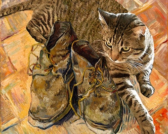 Cat Art, Van Gogh's Shoes, Cat Lover Gift, Tabby Cat, Cat Decor, Cat Lovers, Housewarming Gift, Deborah Julian