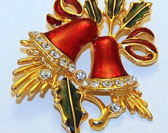 Vintage Christmas brooch, Vintage Christmas Jewelry, Vintage Bell Brooch, Vintage Christmas Bell Pins, Vintage Holiday Enamel Bell Pin