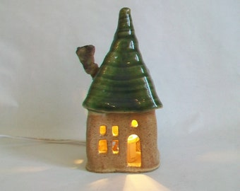 Fairy House/ Night Light - Squared Up  --  with a Green Roof -- 1 House - Made by Hand  on the Potters Wheel - Ready to Ship