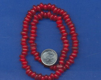 16 inch strand of Red Horn 6mm rondell beads