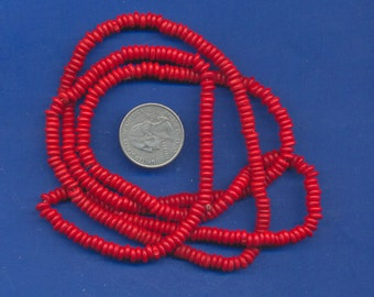 "36"" strand of 5mm bone beads:  Red"