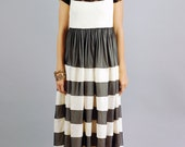 Anastasia Ivory and Black Lace Stripe Maxi