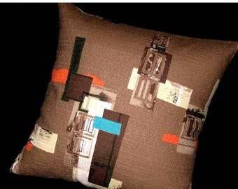 "ON SALE Modern Barkcloth Pillow Cover - MCM Architectural Elements on Vintage Barkcloth - Shown with 18"" x 18"" insert - Many Sizes Available"
