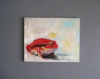 Original Red Tomato Frog with Crown Oil on Canvas Painting