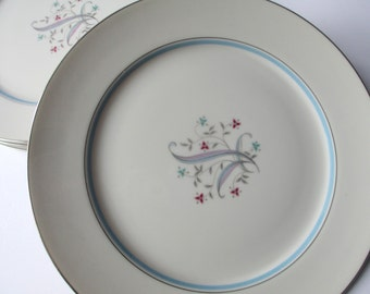 Vintage Yamaka Laura Blue Pink Aqua Floral Dinner Plates Set of Four