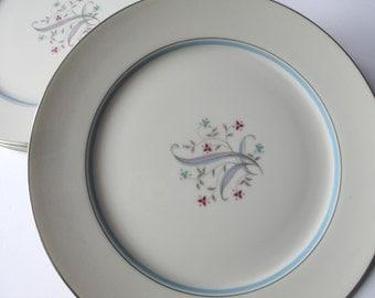 Vintage Dinner Plates Yamaka Laura Blue Pink Aqua Floral Set of Four