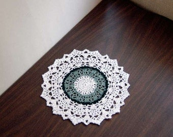 Country Chic Crochet Lace Doily, Green, White, Table Accessory, Modern Home Decor, New