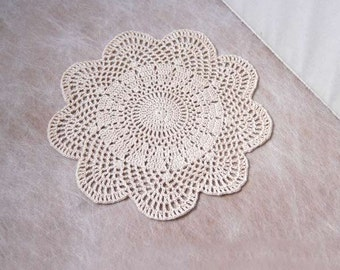 Modern Art Deco Crochet Doily, Ecru Lace, New Table Decor