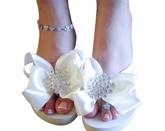 Ivory Wedge Flip Flops - RUSH 2 day - White Heel Wedding Bridal Jewel Rhinestone Satin Rhinestone Bow Bride Ribbon bridesmaid platform gift