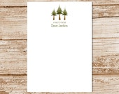 personalized notepad - pine trees notepad, note pad - evergreen trees, hiking, camping, nature notepad - stationery, stationary