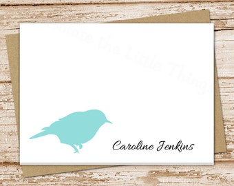 personalized bird stationery set . wildlife nature . folded cards . bird silhouette note cards . bird notecards . set of 8