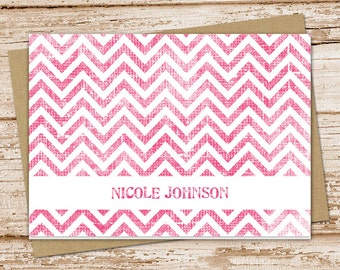 personalized chevron note cards notecards set . shabby chevron . folded cards . personalized stationery stationary . set of 8