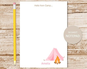 personalized camping notepad . camp note pad . stationery . pink camping tent . hello from camp . girls summer camp