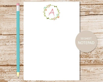 personalized notepad . floral initial notepad . monogram note pad . personalized stationery . floral wreath notepad . womens stationary
