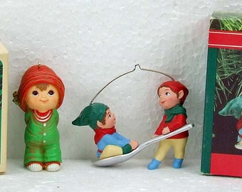 Two Vintage Hallmark Keepsake Christmas Ornaments Spoon Rider Elves 1990 and little Elf 1984 Original Boxes ATCTTEAM TNTEAM