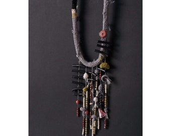 Gray Crocheted Necklace with Black Corals and Glass Beads