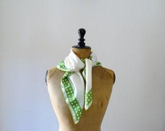 CLOSING SHOP 50% SALE / Vintage silk scarf. 60s white silk scarf. palm tree print scarf