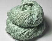 Fading mint breath OOAK - Tussah Silk Fingering Yarn