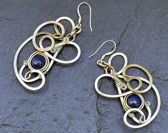 Blue Lapis Earrings, Dangle Earrings, Wire Earrings, Lapis Lazuli Earrings, Navy Earrings, Gemstone Earrings, Boho Earrings, Silver Earrings