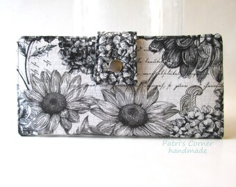 Handmade womens wallet -Garden black and white floral - a touch of teal - ID clear pocket - custom order - vegan - Gift for her