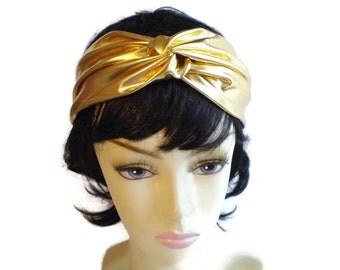 Shiny Gold Twisted Headband, Gold Turban Headband, Dressy Turban Headband, Holiday Headband