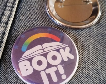 retro style Book It pin 2-1/4inch pinback button hand pressed badges 80s 1980s 90s 1990s buttons