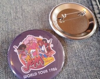 retro style JEM and the Holograms pin 2-1/4inch pinback button hand pressed badges Nickelodeon 80s 1980s 90s 1990s buttons
