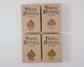 Happy Birthday Chocolate Frosted Striped Cupcake Stamped Box Jewelry or Gift Box Kraft Jewelry Box Party Gift Box