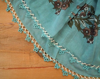 teal cotton scarf with crochet edging, turkish oya