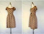 1950s pretty woman brown polka dot dress / the new deal in chocolate brown / medium