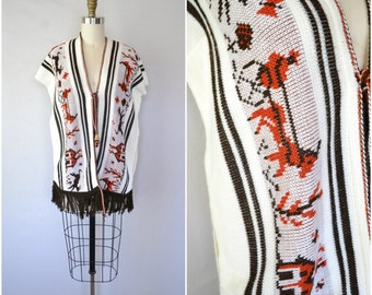 1970s boho horse and carriage poncho / farm scene shawl / fits most / small medium large xl