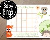 Spring Family, Forest Animal Baby Bingo Shower Game, Professionally Printed Set of 12, Baby Shower Bingo