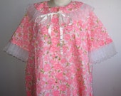 Vintage 50s Loungees Deadstock NOS Pink Floral & Lace House Lounge Dress