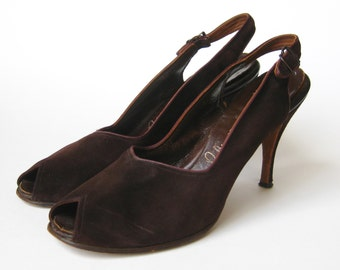 Vintage 50s Brown Suede Leather Peep Toe Stiletto High Heel Slingback Shoes 9 1/2 N