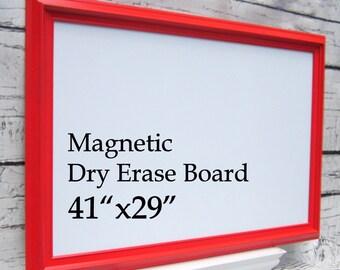 "FRAMED WHITEBOARDS For SALE Red and White Framed Chalkboard Framed Magnetic Dry Erase Board Office Decor 41""x29"" Organizer Magnetic Board"