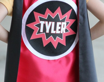 Custom POW Design Cape - Fast Shipping - Full NAME Personalized SUPERHERO Cape - Includes full name in burst design - 6 color options