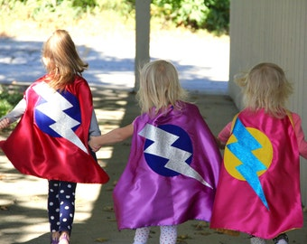 Fast Shipping - SPARKLE Lightning Bolt Superhero Cape - Add custom INITIAL - Quality Sparkle Design - Halloween Ready - Many options
