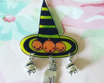 Witch hat pin, Halloween Brooch, cat Pinback, creepy pin, spooky, pumpkin, ghost, witchy, witch, Brooch, soft grunge, tumblr,90s