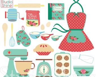 Retro Baking   Cooking Digital Clipart Set Clip Art PNG Vector EPS Files Vintage Retro Kitchen Personal and Commercial Use Instant Download