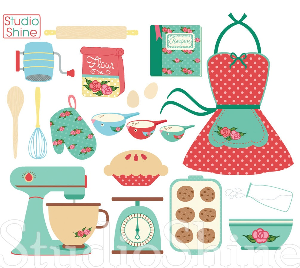 Retro baking cooking digital clipart set clip art png vector for Kitchen set drawing