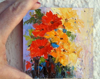 """Original Impressionist flower painting - Abstract Flowers 3 flower girl gift, floral art, palette knife oil painting 6x6"""" small format art"""