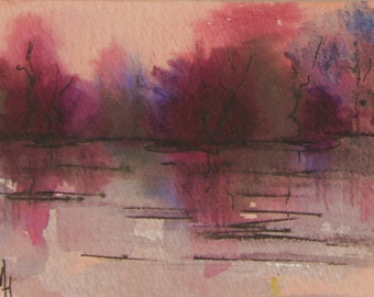Abstract Original landscape ACEO painting - Mini art trading card, original ATC, 2.5 by 3.5 in - Lake Sunset 3 - watercolour, Free Shipping
