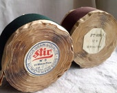 Vintage Trim, Grosgrain Tape. French Millinery & Furnishings Ribbon, Green or Brown. Upholstery Supplies