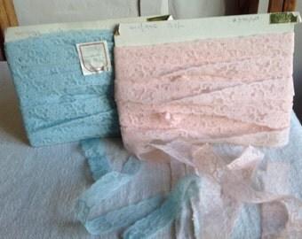 Vintage Lace Trim, Antique Lace Pink or Blue Lace Insert French Lace Trim Edging Ballet & Dolls. Yardage Vintage Wedding, Furnishings
